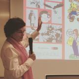 Mercè Solé va oferir una completa aproximació al còmic en català des d'una vessant històrica.