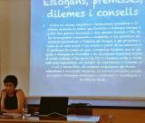 Mireia Nebot va parlar sobre l'ensenyament de català per a adults al CPNL. Foto: @reaqueldoca