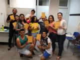 Alumnes que van fer l'activitat 'Juguem a fer poesia'.