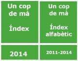 <em>Un cop de mà</em> / Índex de continguts 2014 i índex alfabètic 2011, 2012, 2013 i 2014